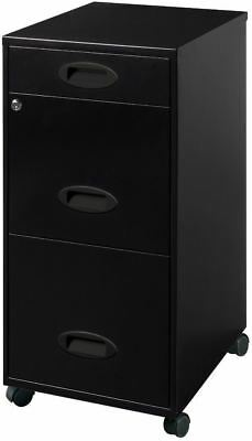Black Rolling Three-Drawer Mobile File Cabinet Home Office Furniture New