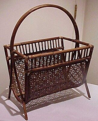 Vintage Antique Bamboo Woven Wicker Rattan Magazine Rack Stand