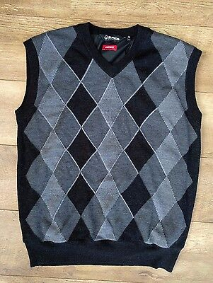 Sunice Mens Golf Huntley Pro Sport Argyle Lined Windstopper Vest Large Black
