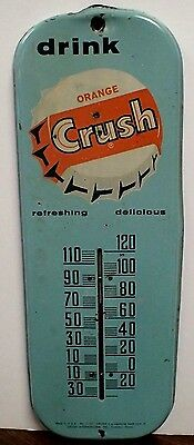 Vintage Drink Orange Crush Soda Thermometer 1960's - Soda Pop Country Store Sign