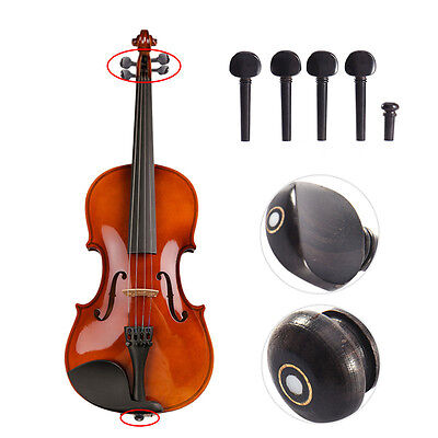 High Quality 4/4 Size Ebony Wood Violin Tuning Pegs Endpin Set Replacement Black