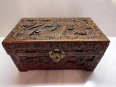 Large Antique Vtg Asian Dragon Carved Wood Box Chest Footed Hinged Trinket -153