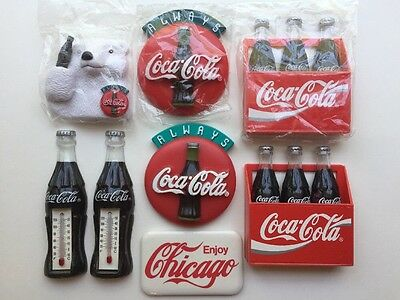 Vintage Coke Coca-Cola Collectible Refrigerator Magnets Lot of 8  New & Used