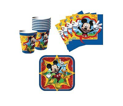 1 X Mickey Mouse Birthday Party Supplies Set Plates Napkins Cups Kit for 16 by