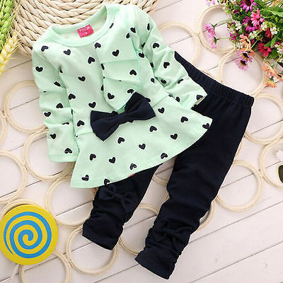 Newborn Baby Girls Spring T-Shirt Tops+Pants Outfits Toddler Kids Clothes