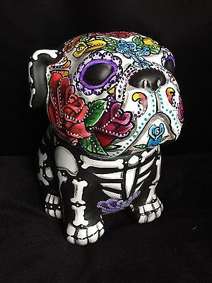 Colorful Bully Sugar Skull Bull Dog Statue Cookie Jar Dia Los Muertos Pet Urn