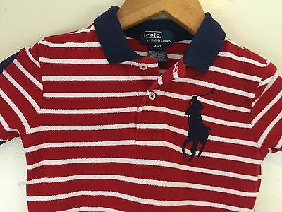 BIG PONY POLO RALPH LAUREN TODDLER BOYS SHIRT SIZE 4/4T Red/White