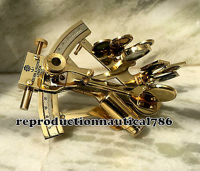 Maritime Solid Brass Marine Sextant Vintage Nautical Collectible Desk Top Decor