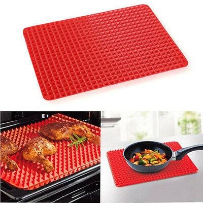 Non Stick Cooking Pyramid Pan Baking Tray Sheets Fat Reducing Silicone Mat Oven