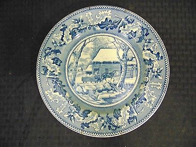 Vintage Blue Historic America Thanksgiving Plates Frozen Up Johnson Bros