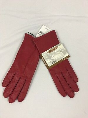 NWT Fownes Women's Red Leather Fleece Lined Gloves Sz 7 1/2