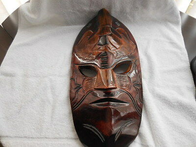 Hand Carved Wooden Tiki Mask Wall Hanging