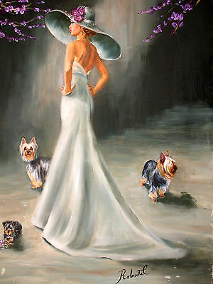Silky Terrier with lady print with double designer mat