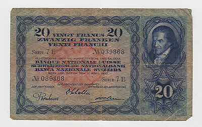 Switzerland - 1935, Twenty (20) Francs