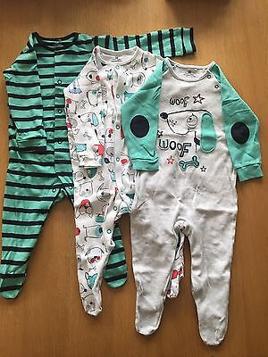 3 Baby Boys Next Sleepsuits 6-9 Months