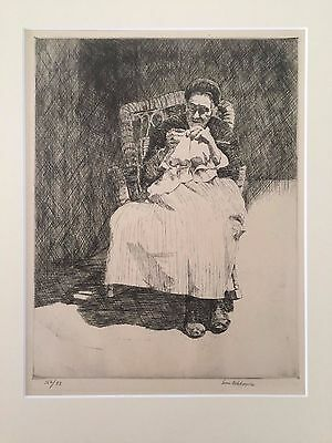 """Louis Wolchonok--""""The Weaver,"""" original signed and numbered limited ed etching"""