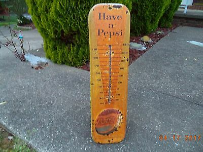 "Vintage 1950's Pepsi Cola Soda Pop 27"" Embossed Metal Thermometer Sign"