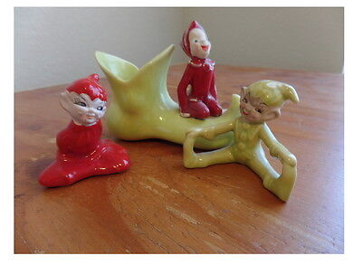 Vintage  Lot OF 3  Elf Pixie  Pixie Potters Cal.shoe  and 2 figurines red green