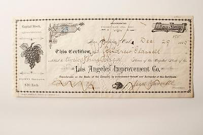 LOS ANGELES IMPROVEMENT COMPANY (c1880's) stock certificate No. 25