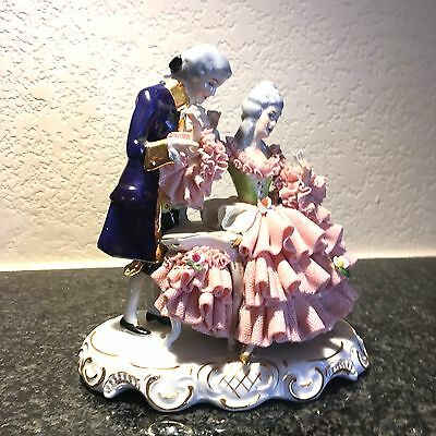 Vintage Dresden? Lace Figurine With Gentlemen Courting A Lady