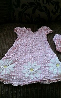 cute summer gingham pink and white dress with matching knickers 12-18 mths
