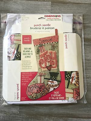 "Punch Needle Joy 15"" Stocking Christmas Kit Dimensions 73243"