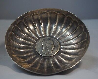 Maciel Sterling Silver Ashtray with Mexican 1866 1 Peso Coin Free Shipping!