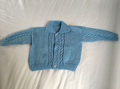 Hand Knitted baby coat/cardigan. Machine washable 3-6 months