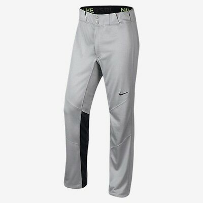 Nike Men's Vapor Dri-Fit Baseball Softball Pants Lt Gray LG Double Knee Vent Leg