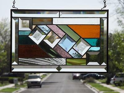 "•PASSAGE •Beveled Stained Glass Window Panel • 14 ¼""x 9 ½"" (37x24cm"