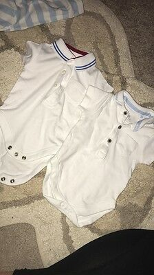 Two Baby Boys Polo Shirt Bodysuits Vests 0-3 Months