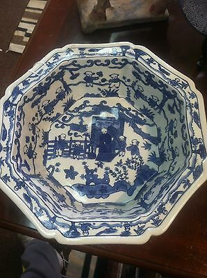 Antique Chinese Blue White Porcalin Bowl Signed
