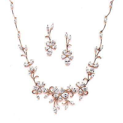 Mariell Elegant Rose Gold Vine CZ Necklace and Earrings Set for Weddings Bridal