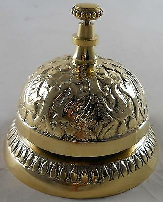 1 X Solid Brass Victorian Style Service Desk Bell Hotel Clock Beautiful Gift NEW
