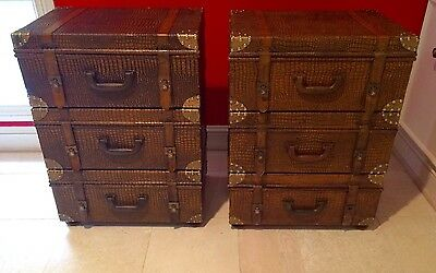 Pair Of Bombay Trunk End Tables Or Night Stands RARE FIND Leather Strap Brass