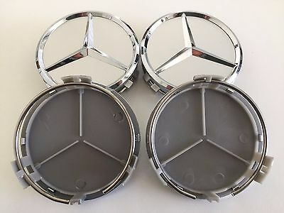 FOR MERCEDES-BENZ (SET OF 4) 75mm / 3 INCH SILVER WHEEL CENTER CAPS WC4PC501 MB2