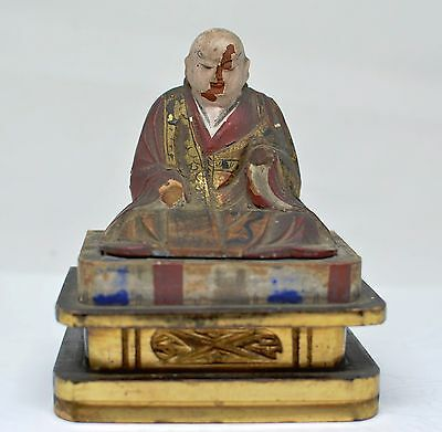 Vintage Japanese Wooden Monk Home Shrine Figurine ~ 4.5 Inches Tall  ~