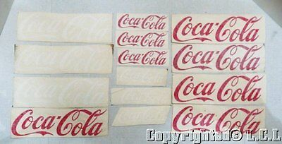 "Lot of 14 Coca Cola Decal Vintage Stickers in Red & White 5"" & 9"" Car Cooler"