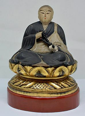 Vintage Japanese Wooden  Buddha  Home Shrine Figurine ~ 6.5 Inches Tall  ~