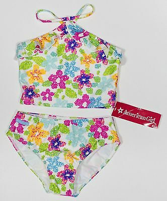 cl NEW American Girl 2 piece Bathing Swim Floral Flower Suit 8 Girls NWT