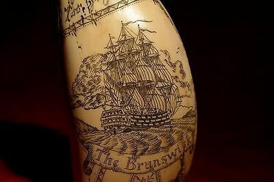"faux-scrimshaw.  ""The Brunswick""  and Admiral ""Howe""  museum Quality!  exquisite"