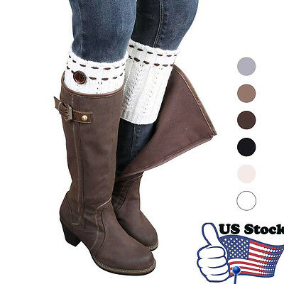Women Hollow Crochet Knitted Button Cover Boot Socks Leg Warmers Toppers USPS