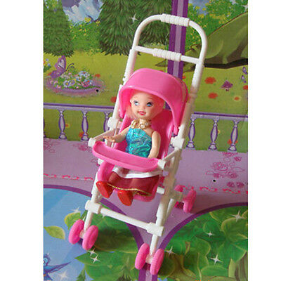 New Assembly Baby Stroller Trolley Nursery Furniture Toy for Barbie Kelly Doll