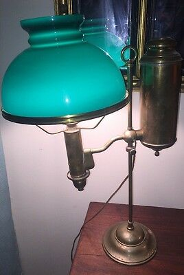 Antique IMPERIAL student lamp w/ EMERALITE shade Electrified