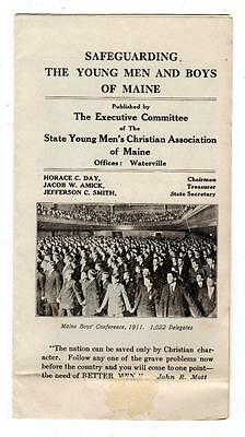 1911 YMCA MAINE Brochure w/ Early BOY SCOUTS Picture SAFEGUARDING THE YOUNG MEN