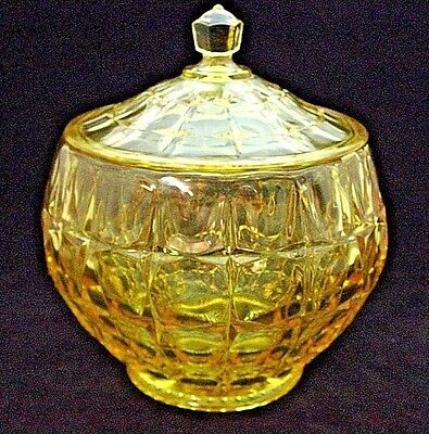 TIARA  CONSTELLATION  YELLOW  GLASS  COOKIE  JAR  by  INDIANA  GLASS CO.  (MINT)