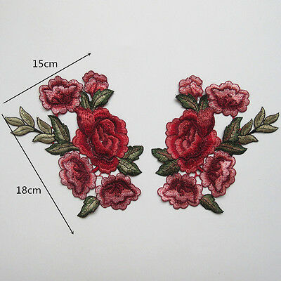 1 Pair  Embroidery Rose Flower Sew On Patch Badge Bag Jeans Dress Applique Craft