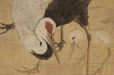 """JAPANESE HANGING SCROLL ART Painting """"Cranes"""" Asian antique  #E4915"""