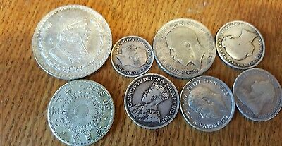 Foreign silver coin lot of 8