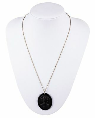 Victorian Jet and Celluloid Cameo Necklace
